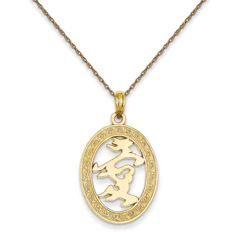 C30445RY-18: 14K Chinese Happiness Symbol in Oval Frame Pendant Necklace