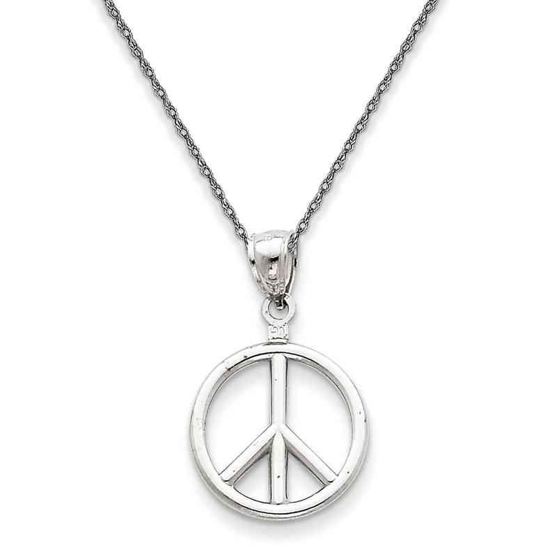 D29185RW-18: 14K WG 3-D Peace Symbol Pendant Necklace