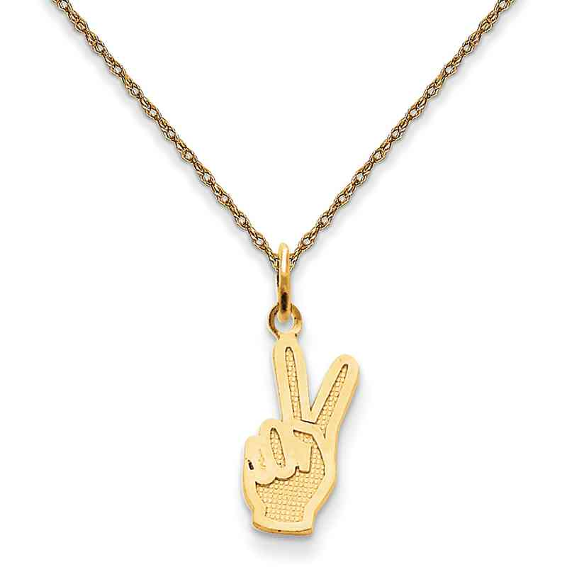 Peace hand sign pendant necklace in 14k yellow gold aloadofball Images