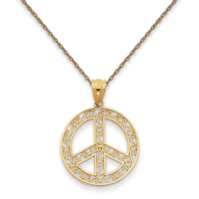 K4105/5RY-18: 14K YG Filigree Peace Sign Pendant Necklace