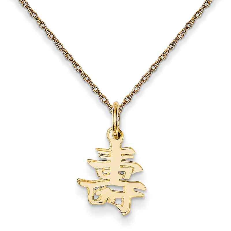 Changshou Chinese Long Life Symbol Pendant Necklace In 14k Yellow Gold