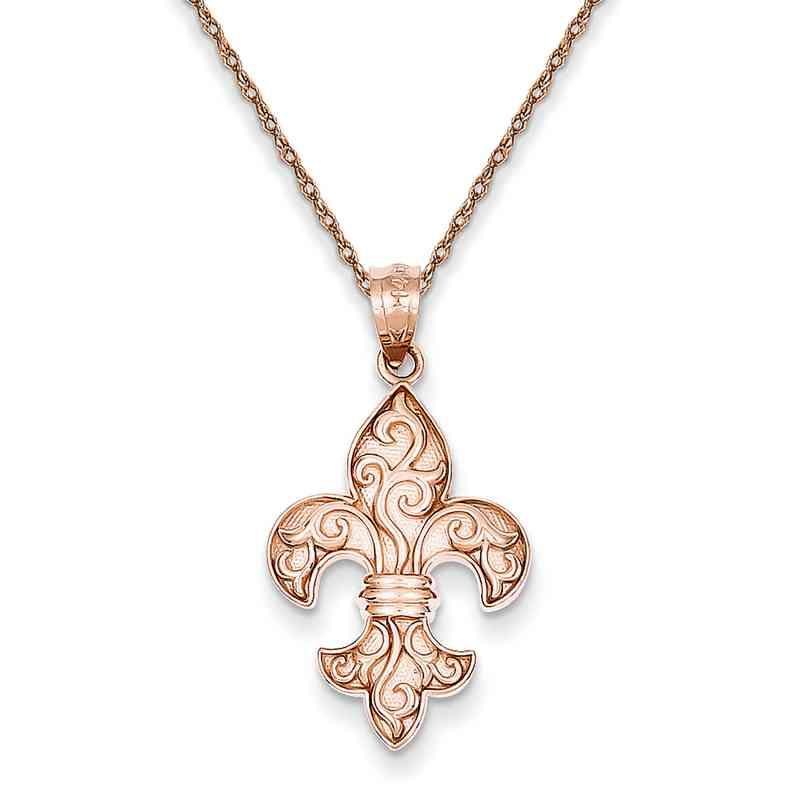 C44905RR-18: 14K RG Fleur de lis Pendant Necklace