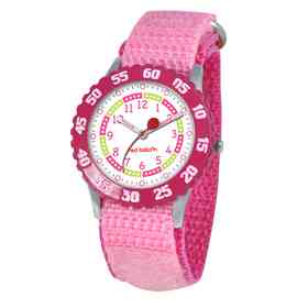 W000175: Red Balloon Girls STNLSTL Pink Time Teach Watch