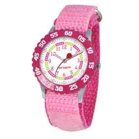 W000175: Red Balloon Girls STNLSTL Pink Time Teach Watch