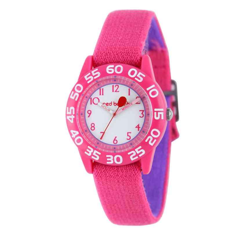 W001895: Red Balloon Girls Pink Plastic Time Teach Watch