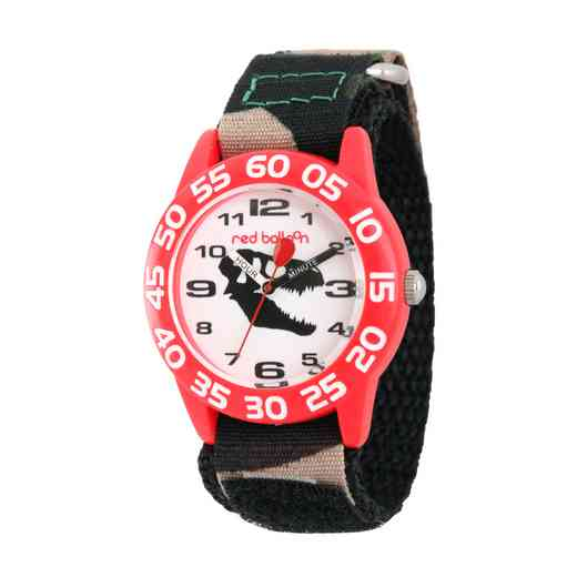 W002274: Red Balloon Dinosaur Boys Red Plastic Time Teach Watch