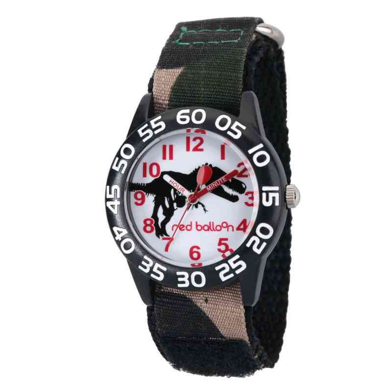 WRB000029: Red Balloon Dinosaur Boys Black Plastic Time Teach Watch