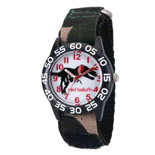 WRB000029: Red Balloon Dinosaur Boys Black Plastic Time Teach Watch
