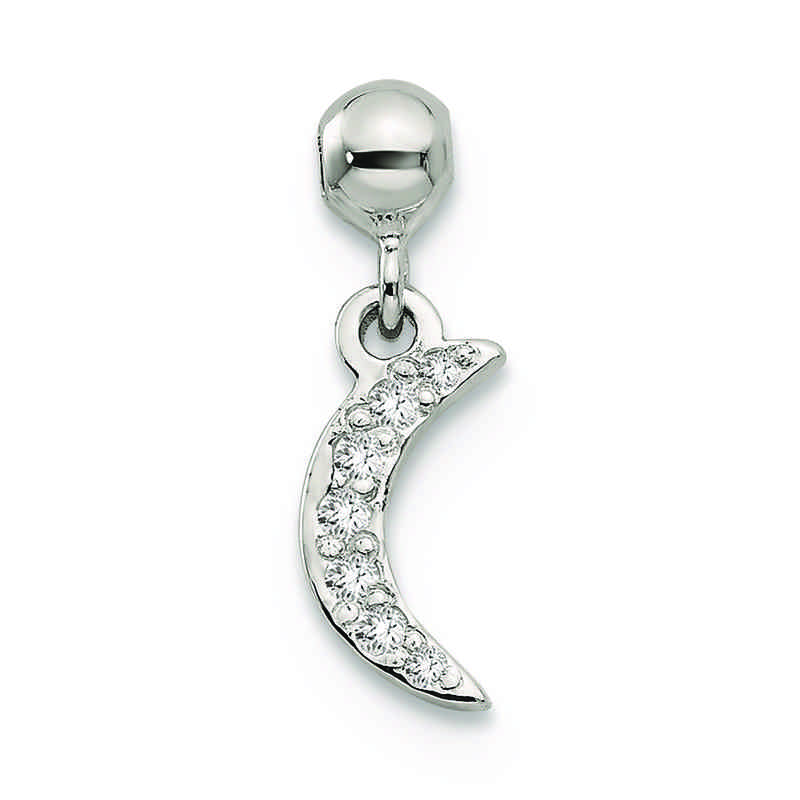 QMM178: 925 Mio Memento CZ Dangle Moon Charm