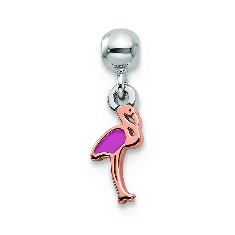 QMM236: SS Mio Memento RHS RH PLT Enamel Flamingo Charm