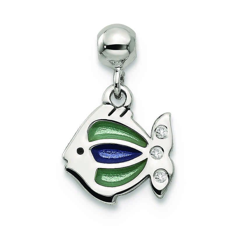 QMM164: 925 Mio Memento Enamel Dangle Fish Charm