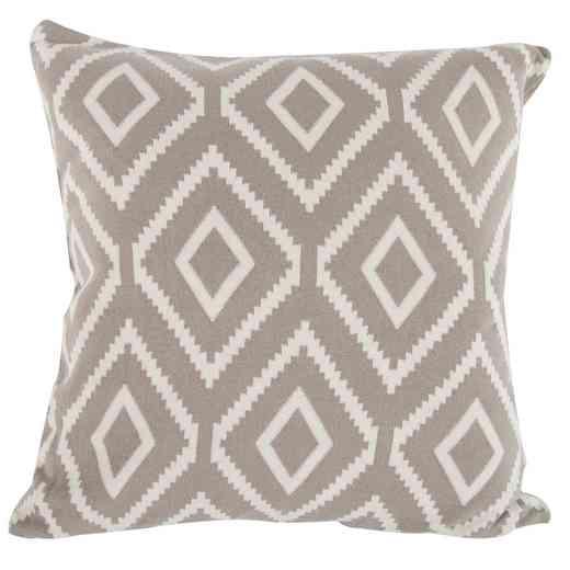 T37576-BROW: AB Cott/Cash Diamond Pattern Pillow 20x20, Neutral