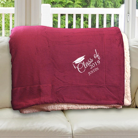 E10805184BUR: Burgundy Fleece  Sherpa Blanket 50 x 60