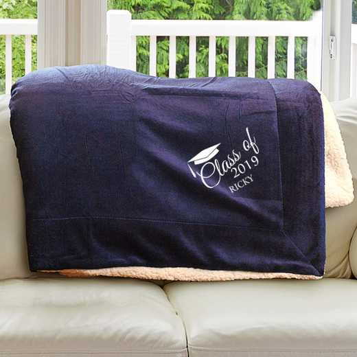 E10805184NV: Navy Fleece  Sherpa Blanket 50 x 60