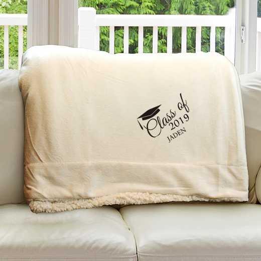 E10805184CR: Cream Fleece  Sherpa Blanket 50 x 60