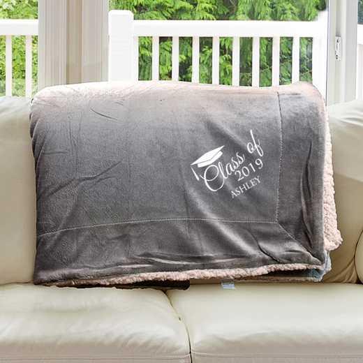 E10805184CG: Grey Fleece  Sherpa Blanket 50 x 60