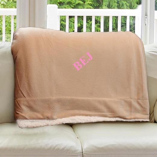E11547184CM: Camel Fleece  Sherpa Blanket 50 x 60