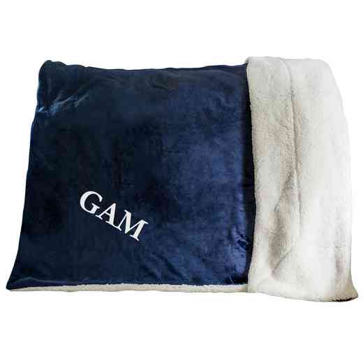 E11547184NV: Navy Fleece  Sherpa Blanket 50 x 60