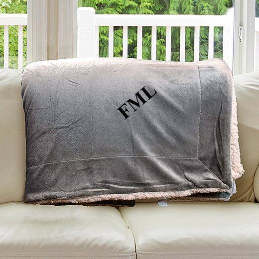 E11547184CG: Grey Fleece  Sherpa Blanket 50 x 60