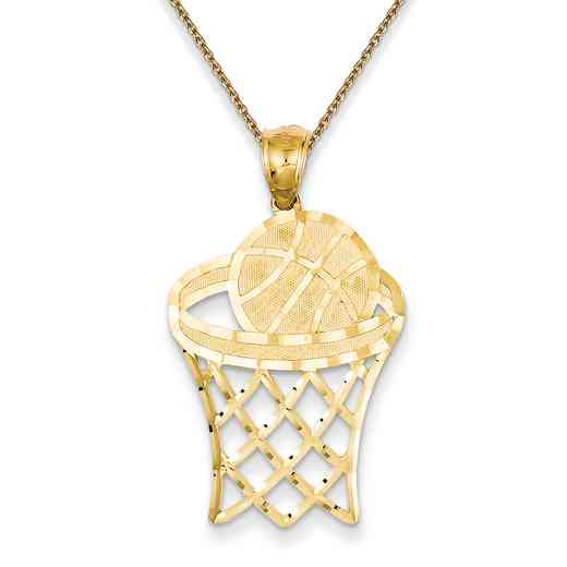 C3584PEN136-18: 14k YG Basketball in Hoop Diamond Cut Pendant