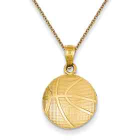 C3774PEN136-18: 14k YG Textured Basketball Pendant
