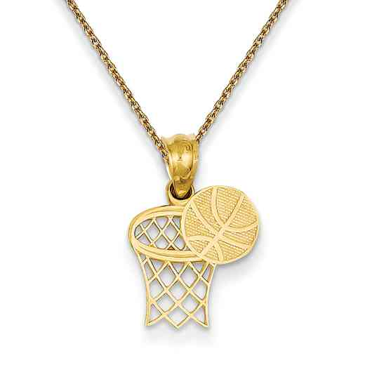 YC1059/PEN136-18: 14k YG Basketball Hoop Textured Pendant