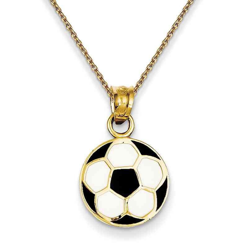 K2088PEN136-18: 14k YG Enameled Soccer Ball Pendant