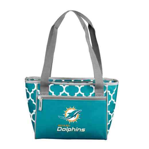 617-83QF: Miami Dolphins Quatrefoil 16Can ClrTote