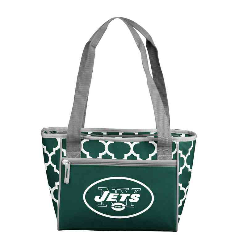 622-83QF: New York Jets Quatrefoil 16Can ClrTote