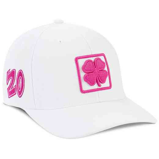 K021344: White/Pink Lucky Square #6 Snapback Hat
