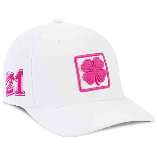 K021345: White/Pink Lucky Square #6 Snapback Hat
