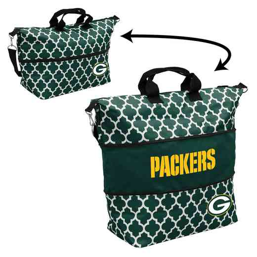612-665QF: LB Green Bay Packers Quatrefoil Expandable Tote