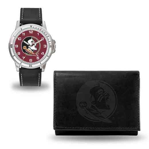 WTWAWA100202: Florida State Seminoles Black Watch and Wallet Set