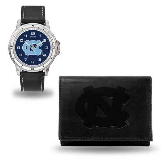 WTWAWA130102: North Carolina Tar Heels Black Watch and Wallet Set