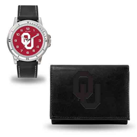 WTWAWA230201: Oklahoma Sooners Black Watch and Wallet Set