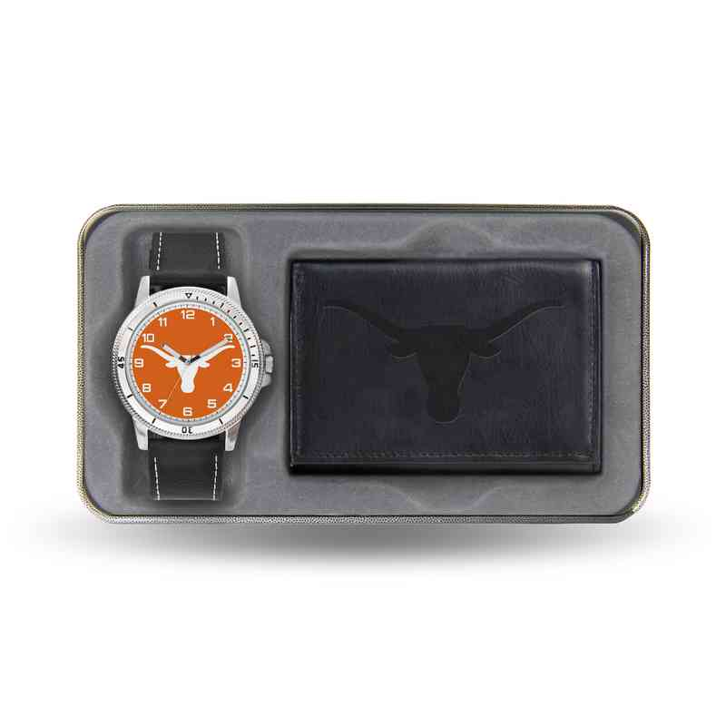 WTWAWA260102: Texas Longhorns Black Watch and Wallet Set