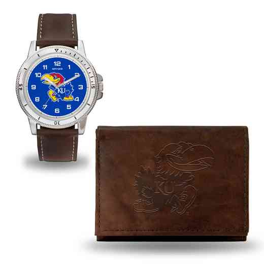 WTWAWB310101: Kansas Jayhawks Brown Watch and Wallet