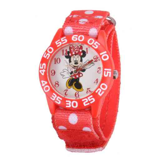 W001665: Plastic Disney Girls Minnie Red Watch Dot Nylon Strap