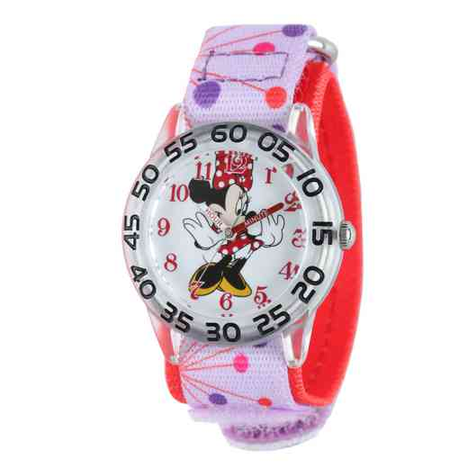 W001666: Plastic Disney Girls MinnieRed/Purp Watch Dot Nyl Strap