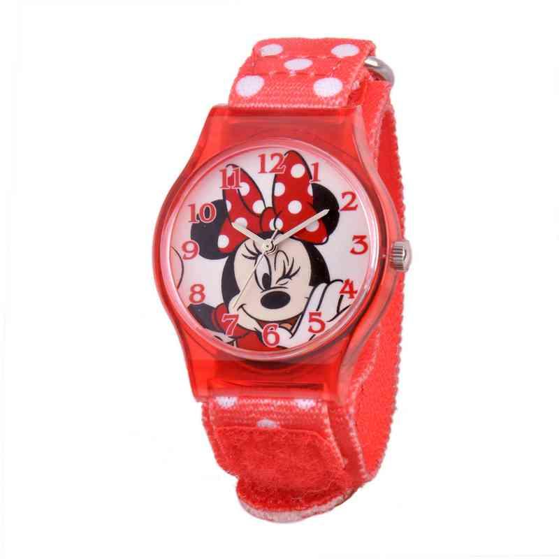 W001694: Plastic Disney Girls Wink Minnie Red Watch Dot NylStrap