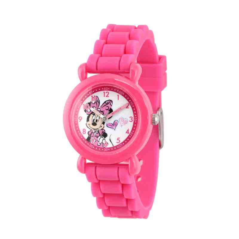 WDS000007: Plastic Disney Girls Heart Minnie Pnk Watch Sil Strap