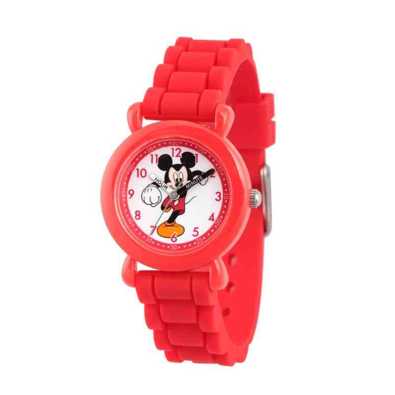 WDS000013: Plastic Disney Boys Punching Mickey Red Watch SilStrap