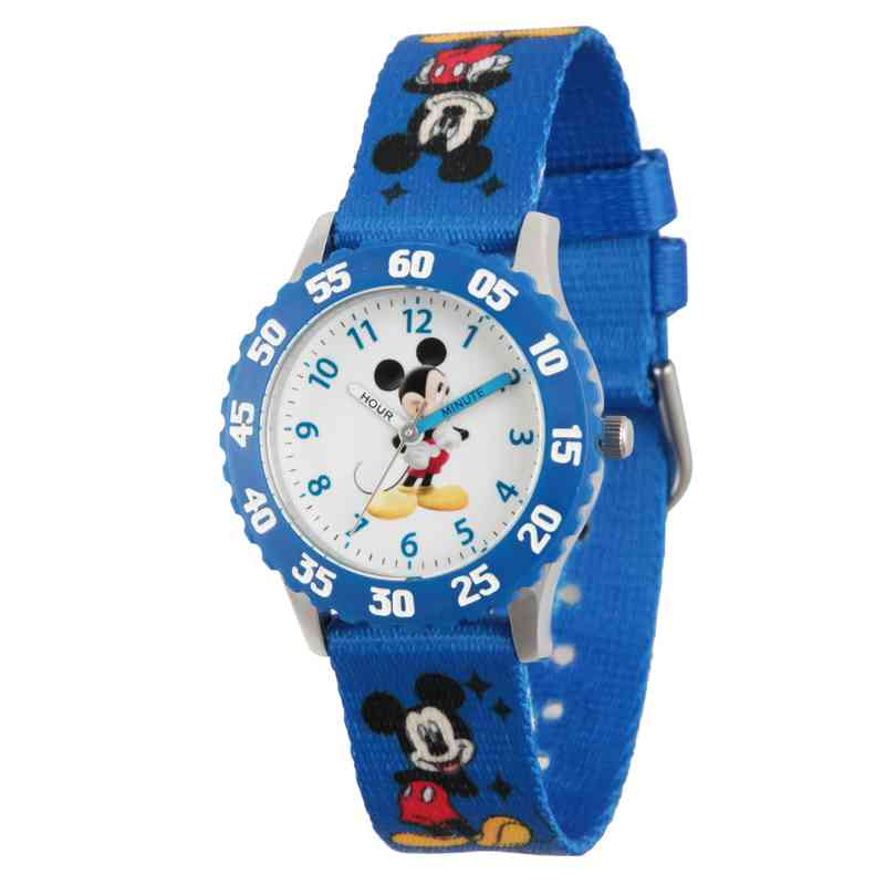 WDS000086: STNLSTL Dis Boys Silly Mickey Blu Watch Prnt NylonStrap