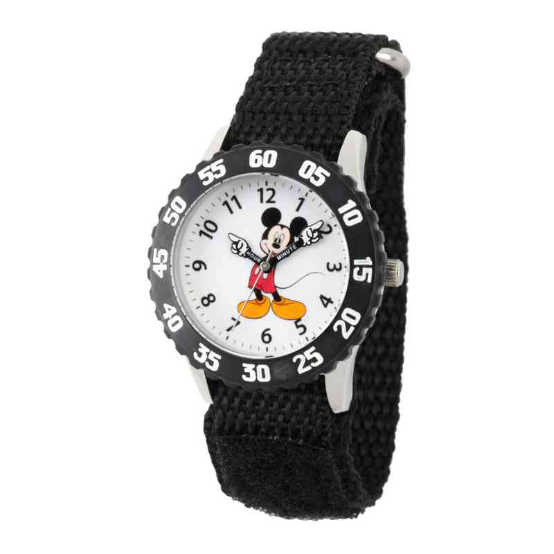 WDS000096: STNLSTL Disney Boys Pointing Mickey Blk Watch Ny Strap