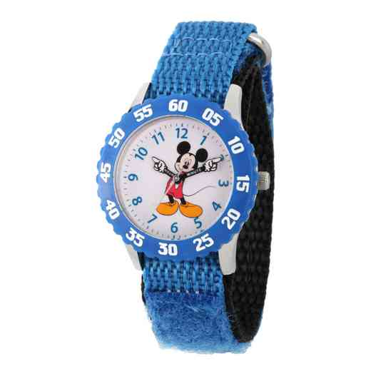 WDS000097: STNLSTL Disney Boys Pointing Mickey Blu Watch Ny Strap