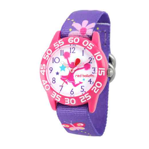 WRB000049: Plstc Red Balloon Girls Cheer Nylon Pnk/Purp Flwr Watch