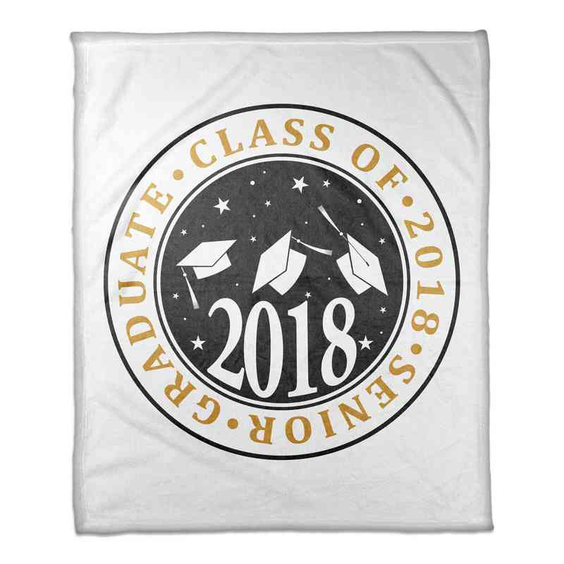 4627-M: 50x60 Throw Class of 2018 - Caps