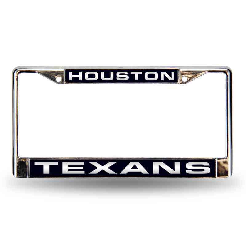 Houston Texans Blue Laser-Cut Chrome License Plate Frame