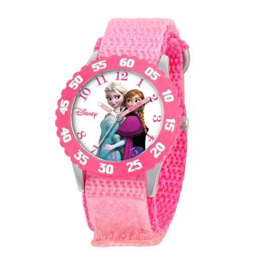 W000969: STNLS STL Gir Dis Frzn Anna Elsa Watch Pink Nylon Strap