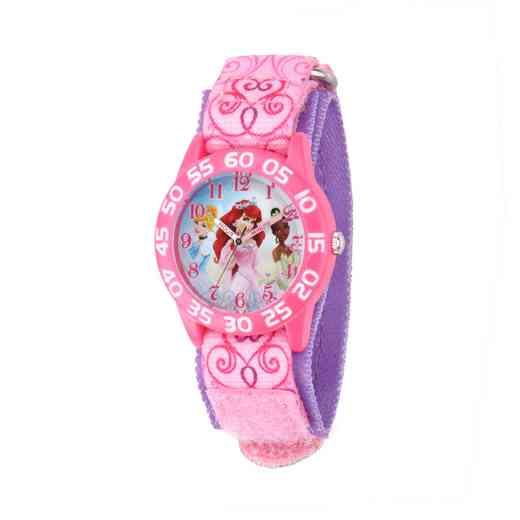 W001667: Plastic Gir Dis ArielCinder Tiara Pnk Watch Prntd Nylon